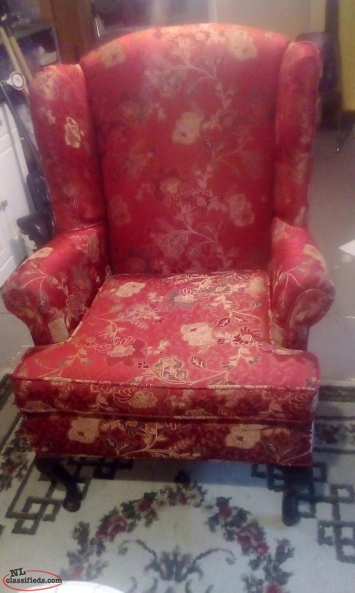 Red High Back Wingback Chair St John S Newfoundland