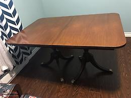 Antique Dining Table And 4 Harp Back Chairs