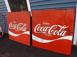 2 coca- cola tin signs 1973