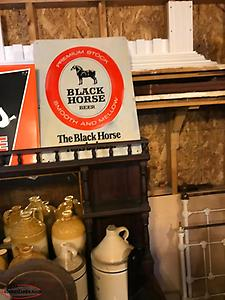 vintage black horse beer sign