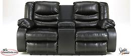 Leather Linebacker Black Double Reclining Sofa and Love seat