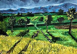 Green fields. Small acrylic painting 5x7 inches