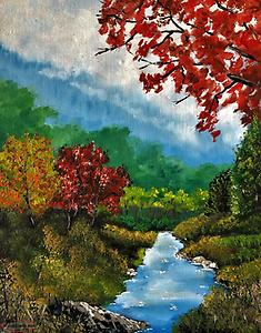 "Oil painting ""Foest Stream"" original local native artist acrylic painting"