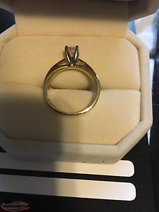 14kt yellow gold princess cut engagement ring