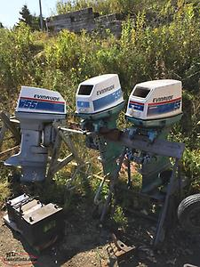 THREE 55HP JOHNSON OUTBOARD MOTORS FOR PARTS OR REPAIR