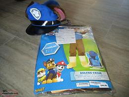 NEW PAW PATROL DELUXE CHASE, SIZE6, SUIT,TAIL,HAT,BOOTTOPS, BACKPACK,COLLAR,