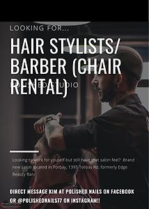 Hair Stylists/Barber & Esthetician (CHAIR RENTAL)