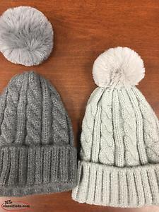 Brand New Women's Warm Knit Hat with Removable Pom-pom