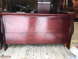 Cherry double sleigh bed