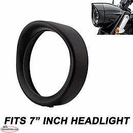 "Black 7"" Headlight Trim Ring Visor For Harley Davidson FLD Touring Road King"