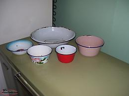 enamel pan and bowls