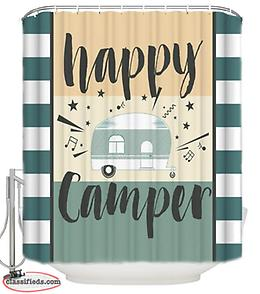 Happy Camper Shower Curtain (Perfect for Campers & RVs!)