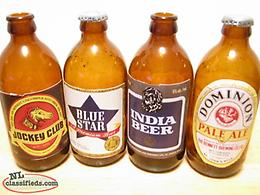 4 STUBBY BEER BOTTLES JOCKEY CLUB - BLUE STAR - INDIA - DOMNION LOT