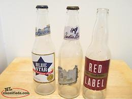 3 OLD LONG NECK BEER BOTTLES FROM EARLY SIXTYS LOT V W X