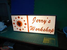 VINTAGE JERRY'S WORKSHOP SIGN AND CLOCK