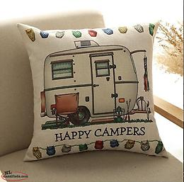 """Happy Campers"" Pillow Covers - Perfect decor for your camper/RV"