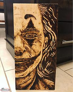 Wood burned The Joker
