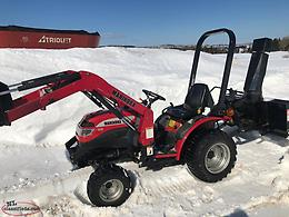 Used 2010 Mahindra 1816 With Loader and Rear Snow Blower.
