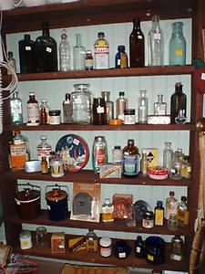 old bottles. some filled