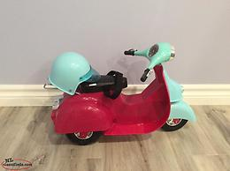 Doll scooter and helmet