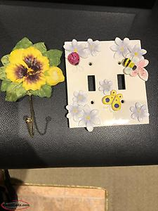 Little Girls Room Light Switch Cover Plate and Flower Hook