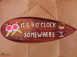 It's 5 O'Clock Somewhere Handcarved Wooden Bar Sign