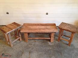 Upcycled hardwood coffee and end tables