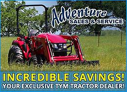 Huge savings on TYM Tractors from Adventure Sales and Service!