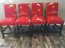 Christmas Chair Covers: Red and Gold with Reindeer