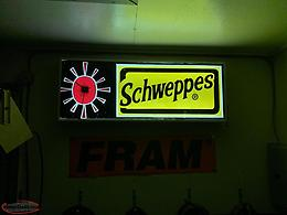 SCHWEPPES CLOCK LIGHT UP SIGN