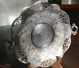 "Vintage Wm Rogers ""Lovelace"" Silver Ornate Platter"