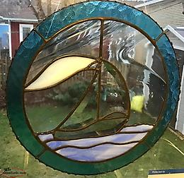 Newly Handcrafted Bevelled Glass Sailboat Panel