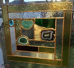 Newly Handcrafted 3 Agate Stained Glass Panel