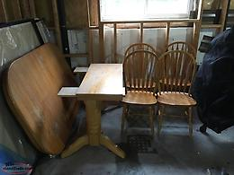 Hardwood table and chairs.