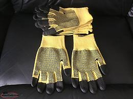 5 Pairs Superior Cut-Resistant ,PVC Dot, Micropore Grip Fingertip Gloves: Size