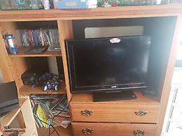 Selling tv stand, free couch with matching chair