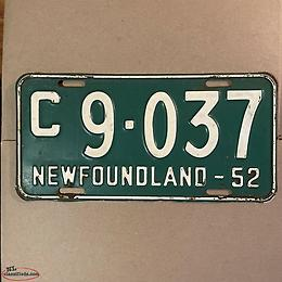 wanted 1950'S C PLATES, NEWFOUNDLAND LICENSE PLATE