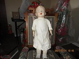 Antique doll , doll furniture and tea set