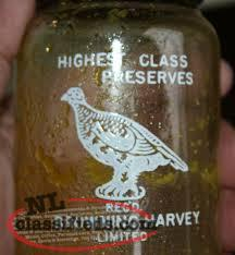 wanted VINTAGE NEWFOUNDLAND BROWNING HARVEY LTD MASON JAR BOTTLE - EMBOSSED PART