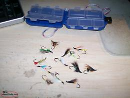 14 NEW Trout and salmon Flies with case, excellent condition