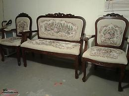 vintage 3 piece Victorian needlepoint tapestry set