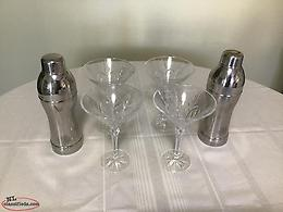 4 Crystal Martini Glasses & Grey Goose SS Shakers