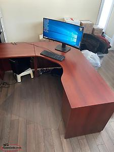 Executive U-shape Office desk with filing drawers, storage cabinet, & book shelf