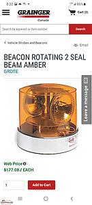 2 Brand New Grote Amber Rotating Beacon Lights