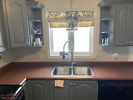 Countertop, double sink and taps