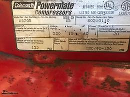 Coleman powermate 5 hp 240 volt 3450 rpm 20 gallon tank comes with 100 ft hose