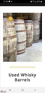 Looking for 2 whiskey or rum barrels