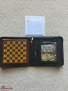 2/$10.00: COMPACT LEATHER BOUND CHESS/CHECKERS GAME! BRAND NEW! / CROSS PEN!