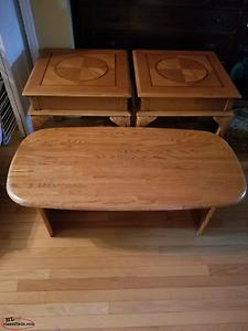 OAK COFFEE AN END TABLE SET