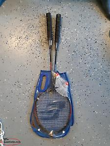 Badminton rackets.